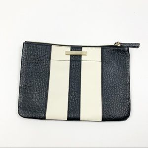 Cole Haan Leather Two Toned Zip Black Clutch Bag